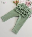 Baby girl cotton leggings with frills Roses GREEN