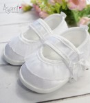 Satiny Frill baby shoes WHITE