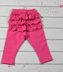 Baby girl cotton leggings with frills PINK