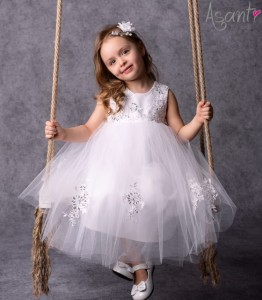 Tulle baby girl dress Royal WHITE