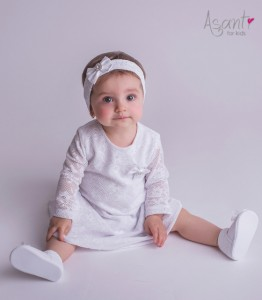 Lace christening dress Ania with long sleeves