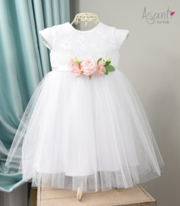 Christening gown with short sleeves Zosia WHITE + pink