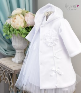 Winter fleece baby coat Lenka WHITE