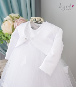 Satiny christening bolero WHITE