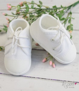 Baby boy christening trainers WHITE