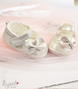 Christening baby girl shoes SILVER