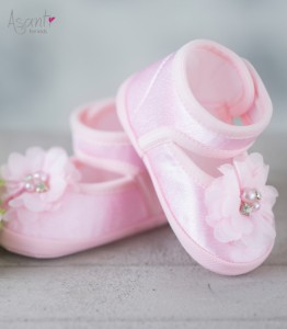 Satiny baby shoes Iga PINK
