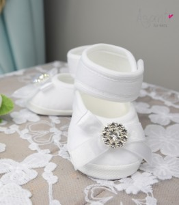 Christening baby shoes Ania WHITE