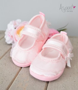 Satiny christening baby shoes LIGHT PINK