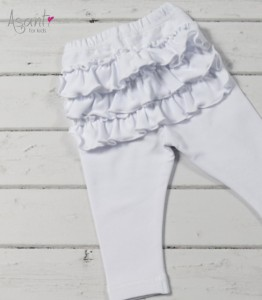 Baby girl cotton leggings with frills WHITE