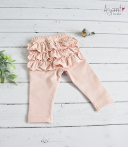 Baby girl cotton leggings with frills APRICOT