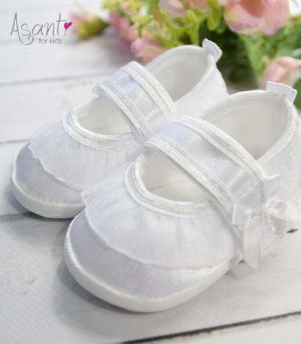Babyschuhe Für Die Taufe Aus Satin Weiß